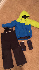 Size 3 Helly Hansen jacket, snow pants, and mitts
