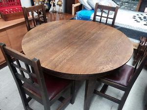 Vintage Solid Oak Dining Set with 6 Chairs (Circa )