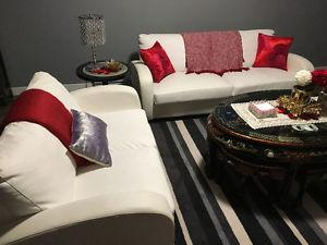 Apartment Size Leather Couch, Loveseat and Club Chair Set