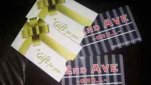 Gift cards for 2nd Ave grill