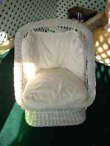 Two White Whicker Tub Chairs with white cushions