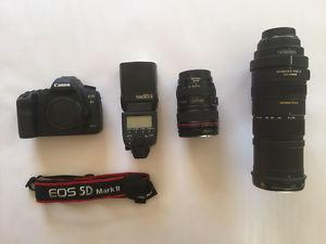 5D MKii Camera Package with lenses and flash