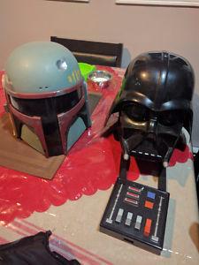 Darth Vader and Boba Fett helmets