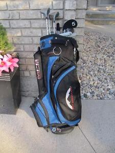 Full right handed set of clubs & irons with a Sun Mountain