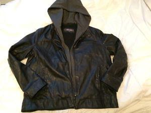 Kenneth Cole Reaction XL Faux Leather Mens Jacket Zip Out