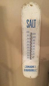 Large 36 by 8 Vintage Windsor Salt Fahrenheit Metal