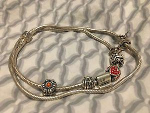 Pandora necklace and charms