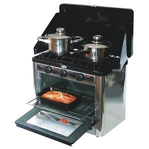 Propane camp stove 2 burner with oven and storage bag