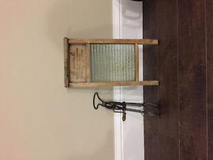 Antique washboard and mixer