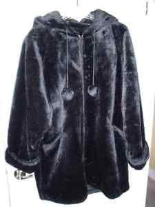 Black Faux Fur 3/4 Length Hooded Jacket - Size 12