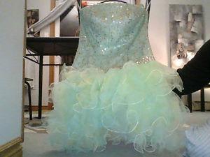 short sea foam green prom/grad dress