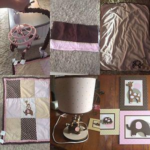 Baby girls bedroom crib set