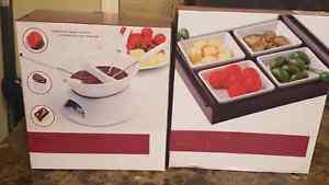 Fondue set and snack serving set