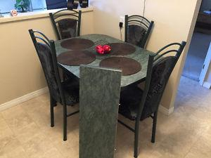 Green Kitchen table with leaf and 4 chairs