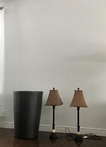 Hamper & 2 nightstand lamps