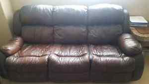 Leather reclining sofa set for only $600