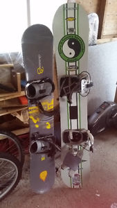 Snowboard and some ski boots