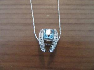 White Gold Necklace with Aqua Stone Pendant