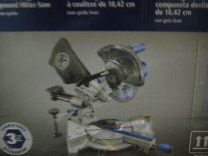 kobalt 7-1/4 in sliding compound miter saw with laser guide.