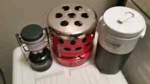 Camp Heater plus camp thermos. Heater is new and never used.
