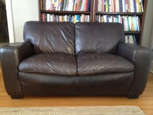 Dark Brown Leather Loveseat and Chair