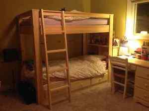 Solid wood bunk bed 6 piece bedroom set