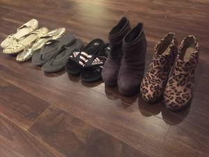 Two pairs or cute boots, 2 pairs flops and 3 pairs of flats