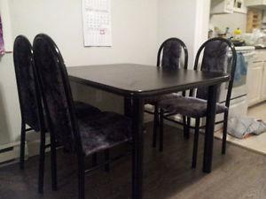 Black Dining Table Set - 4pc chairs