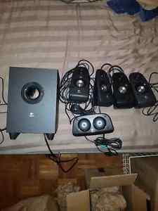 Logitech 5 speaker + a sub surround sound set up