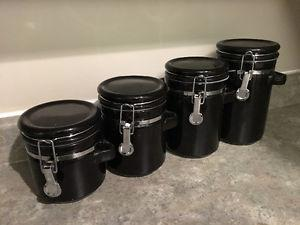 BLACK CERAMIC STORAGE CONTAINERS
