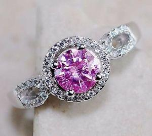 SOLID STERLING SILVER WITH GENUINE 1 CARAT PINK SAPPHIRE,