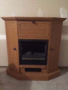 Solid Oak Electric Fireplace TV Stand