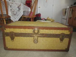 Vintage Rattan Wicker Storage Trunk with Cedar Lining
