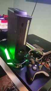 Xbox 360 with headset and light up stand
