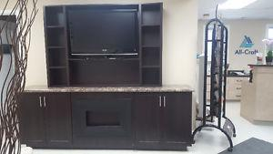 8ft Custom built shelving unit with fireplace included