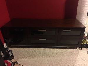 Solid Dark Wood TV Stand