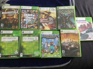 XBOX 360 games and 2 controllers