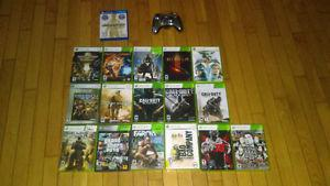 A lot of Xbox 360 games and controller