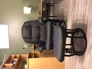 Black leather like rocking chair with ottoman