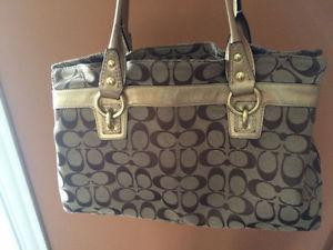 Genuine Coach purse gold and beige color