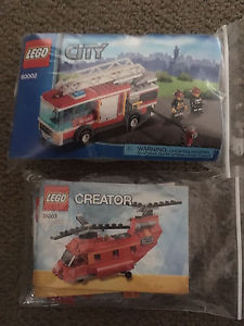 Lego city fire truck and Creator helicopter