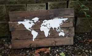 Wooden World Map Sign