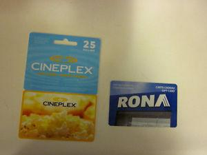 Cineplex Movies and Rona gift cards totaling 30 value for 20