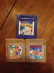 GameBoy Games - Pokemon Blue, Super Mario Land 1 & 2