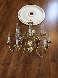 Price Reduced! Beautiful chandelier and ceiling medallion