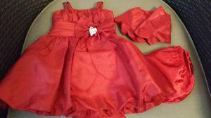 Red special occasion dress sz 3-6 months