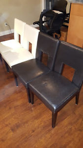 Set of 4 leather dining chairs