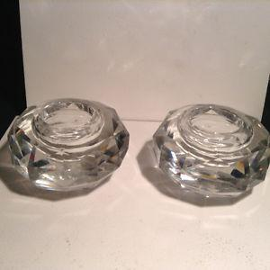 Vintage Hand Cut Crystal Candle Holders