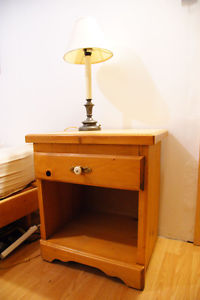 bed table and lamp