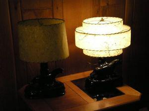 pair of vintage black jaguar lamp with original shades